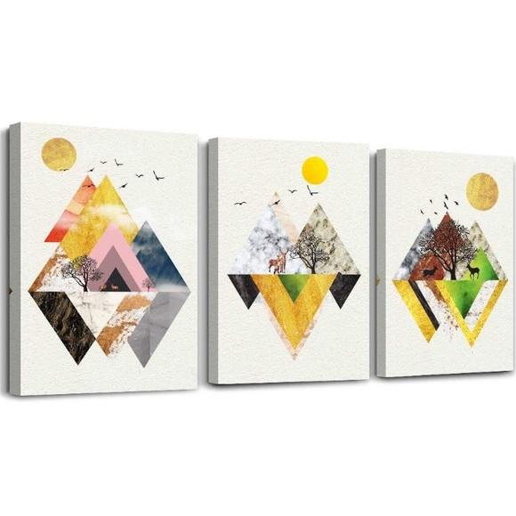 3pcs Abstract Mountain Canvas Prints Wall Art Nwt